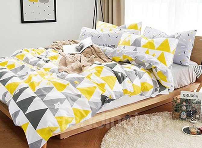 Full Size Concise Triangle Print Cotton 4-Piece Bedding Sets/Duvet Cover