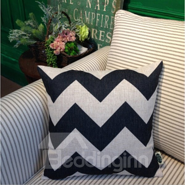 Popular Black and White Ripple Print Throw Pillowcase