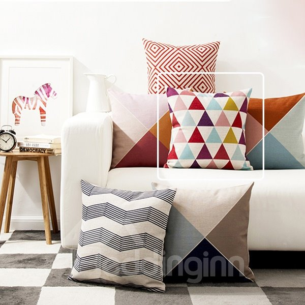 Fancy Concise Colorful Triangle Pattern Throw Pillow