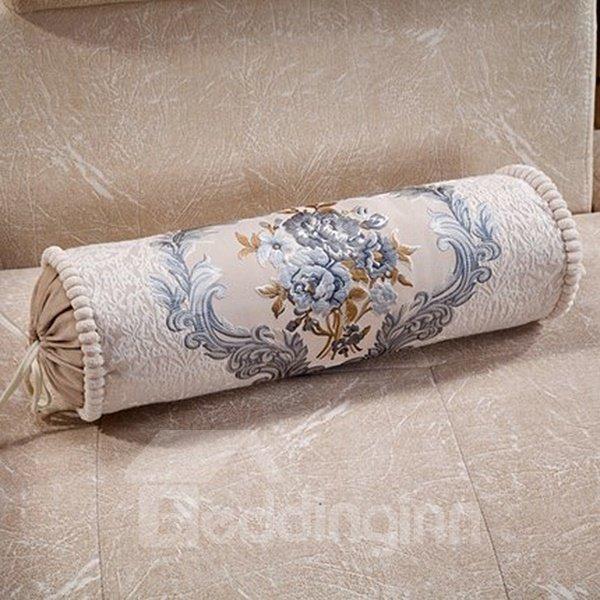 Retro Elegant Flower Print Candy Shape Pillow