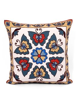 Excellent Ethnic Style Butterflies Embroidery Throw Pillow
