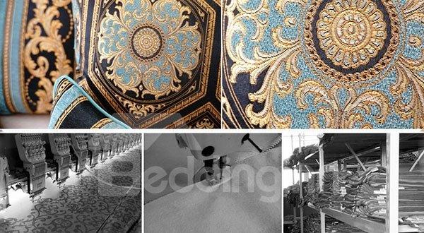 European Style Elegant Pattern Embroidery Blue Polyester Throw Pillow