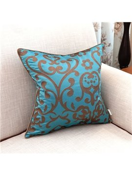 Luxurious Stylish Embroidery Blue Polyester Throw Pillow