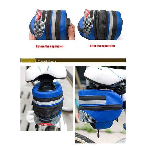 Bike Under Seat Bag Clip on Rear Tail Pouch Expandable Pack
