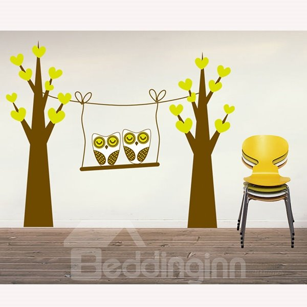New Arrival Owl Swing Wall Stickers for Home Decoration