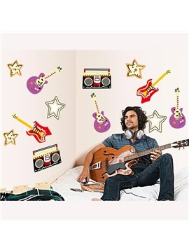 Simple Music Guitar Wall Stickers for Home Decoration