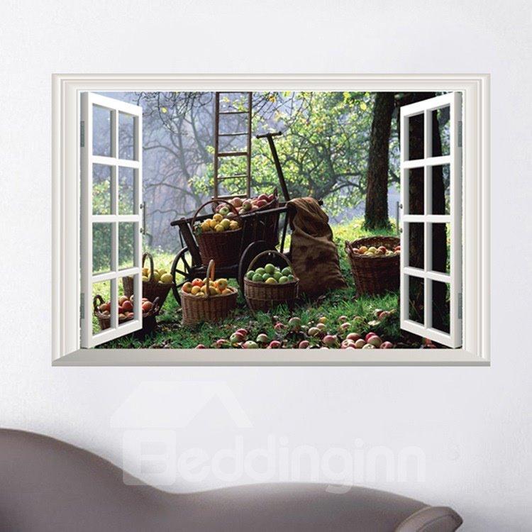 Wonderful Fruit 3D Window Scenery Pattern Decorative Wall Stickers