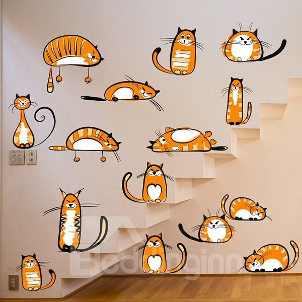 Simple Yellow Cute Cats Wall Stickers for Home Decoration
