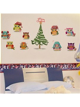 Cute Owl Christmas Wall Stickers for Home Decoration