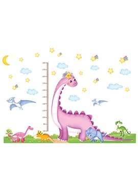 Cute Dinosaur Height Measurement Kids Wall Stickers for Home Decoration