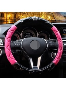 Fantastic Black Rose Red Mixing With Noble Crown Steering Wheel Cover