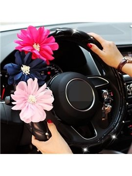 Attractive Big Red And Pink Flower Steering Wheel Cover