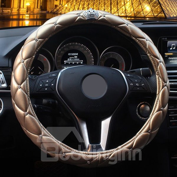 Luxurious Golden With Imperial Crown Steering Wheel Cover