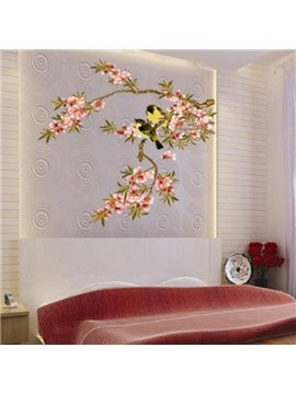 Delicate Decorative Plum Blossom and Bird Pattern Wall Stickers