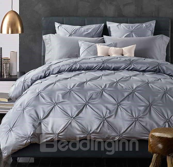 Fancy Grey Pinch Pleat 4-Piece Polyester Duvet Cover Sets