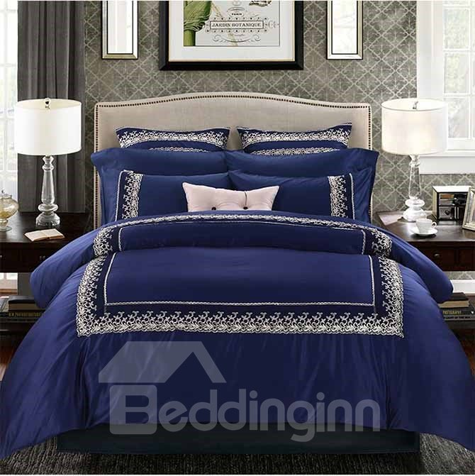 Fancy Retro Embroidery Embellishment Blue 4-Piece Polyester Duvet Cover Sets
