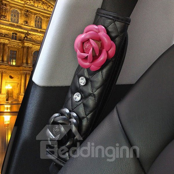 Durable Leather Material Rose Pattern Seat Belt Cover
