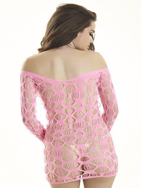 Ladies Pink Mesh Hollow-out Mini Sleepwear Chemise Babydoll Lingerie