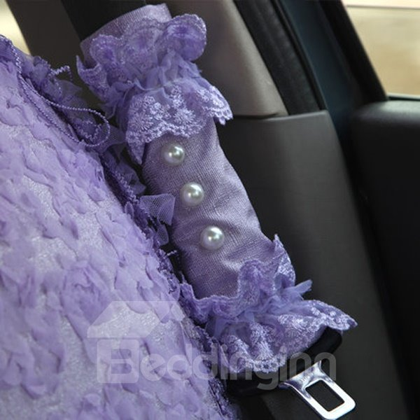 Attractive Solid With Lace Flower Most Confortable Seat Belt Covers