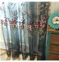 Decorative Polyester Sheer Pastoral Style Embroidered Peach Blossoms Blue Sheer Curtain