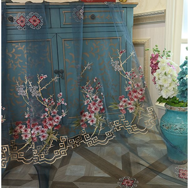 Decorative Polyester Sheer Pastoral Style Embroidered