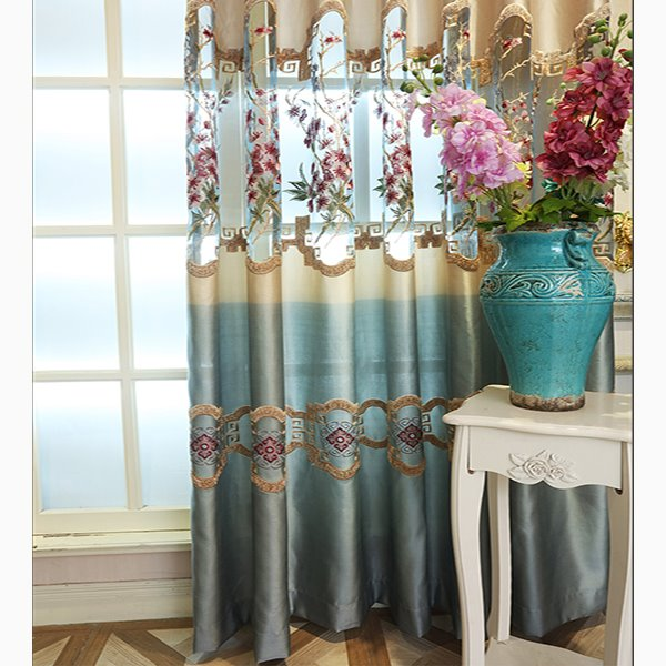 Pastoral Style Embroidered Flowers Pattern Blue Custom Curtains