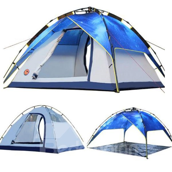 Outdoor 3-4 Person Blue Romantic Galaxy Pattern Waterproof Camping Tent
