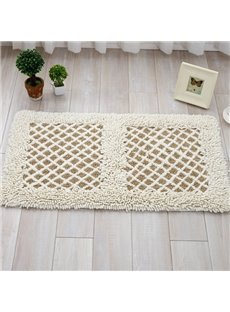 White Rectangle Cotton Reticular Pattern Doormat