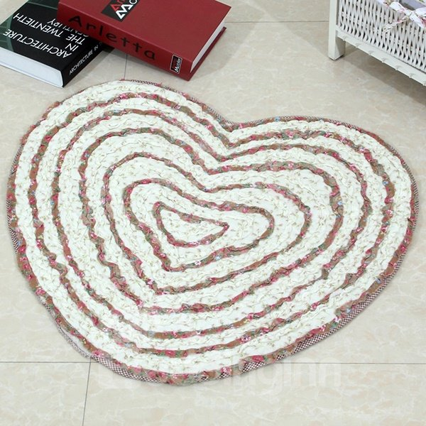 Countryside Style Roses Heart Pattern Area Rug