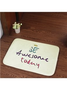 Simple White Rectangle Letter Pattern Home Decorative Doormat