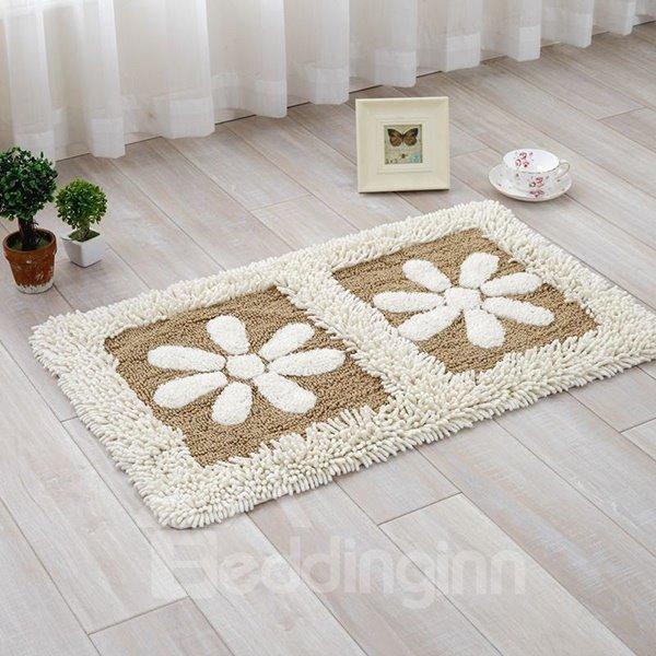 Cream-coloured Flower Petal Rectangle Doormat