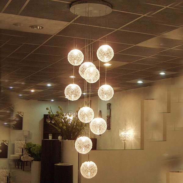 Simple Shinning Round Ball 79 Inches 10 Lights Ceiling Light