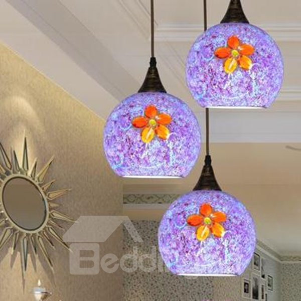 Modern Fashion Purple Flower Pattern Ceiling Light