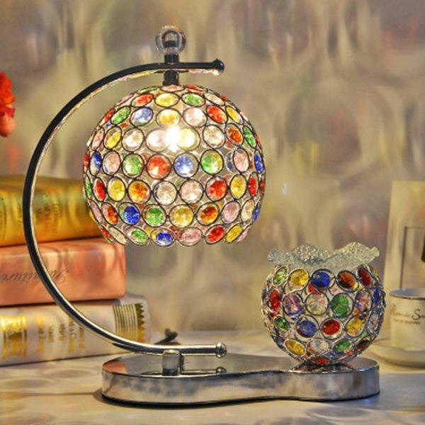 Colorful Krystal Patern Bohemian Fragrance 2 Lights Table Lamp