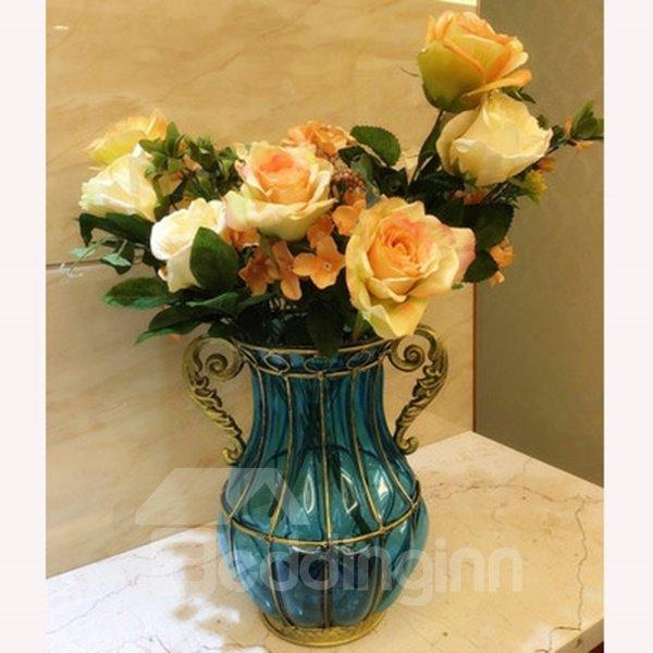 Simple European Style Transparent Color flower Vases for Desktop Decoration
