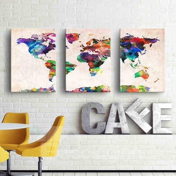 Abstract World Map Pattern 3-piece Wall Art Prints