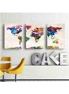 Abstract World Map Pattern 3-piece Wall Art Prints