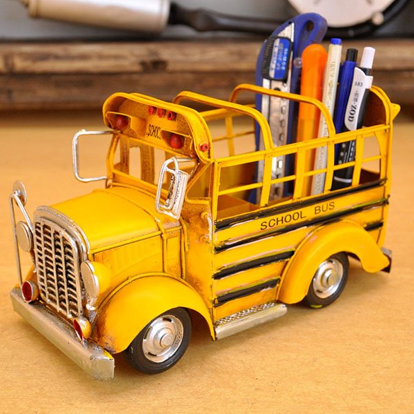 Cute Classic Yellow School Bus Brush Pot Desktop Decoration