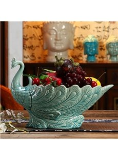 Creative Blue European Style Peacock Fruit Dish Desktop Decoration