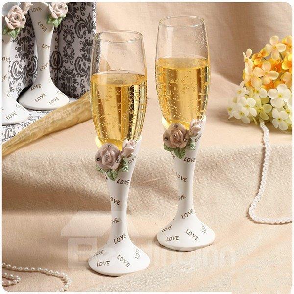 New Arrival Flower Shampagne Wine Glasses for Wedding Decoration