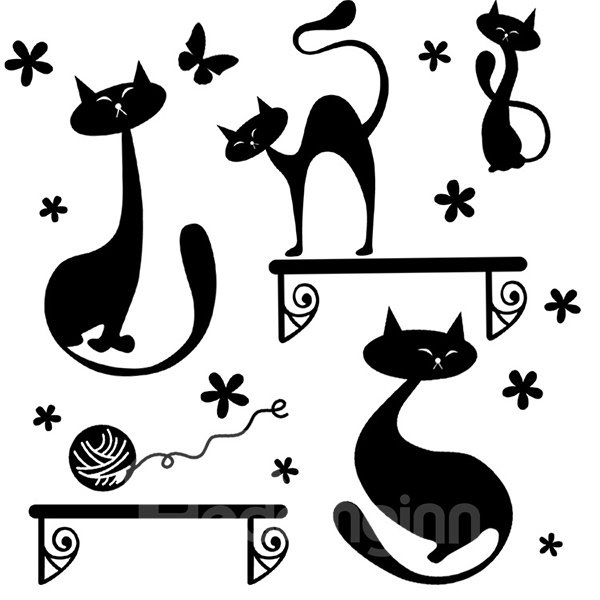New Arrival Cats and Butterflies Wall Stickers