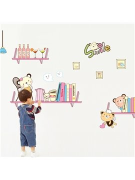 Cute Smile Bookshelf Children Wall Sticker for Home Decoration