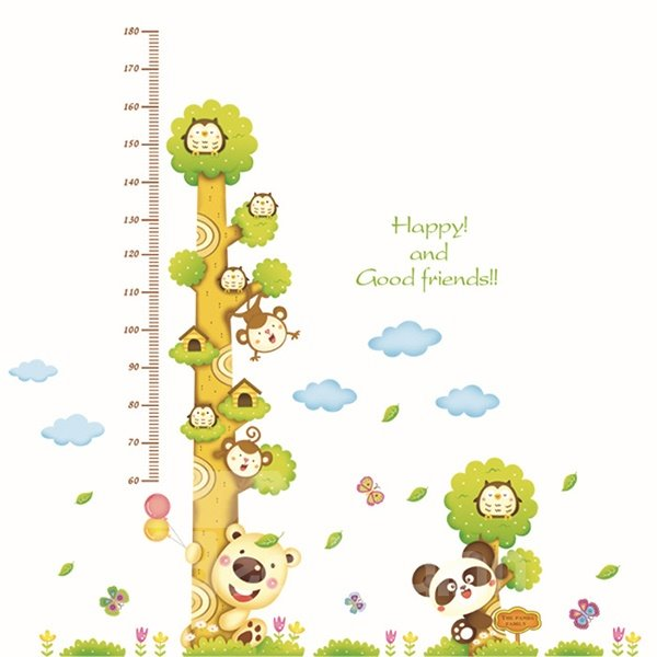 Happy Animal Tree Height Measurement Kids Wall Sticker