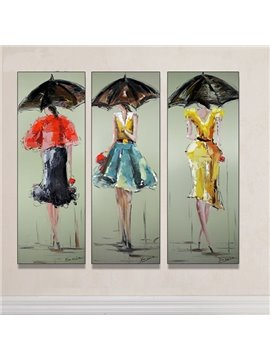 Beautiful Girl with Umbrella Hand Painted Oil Painting