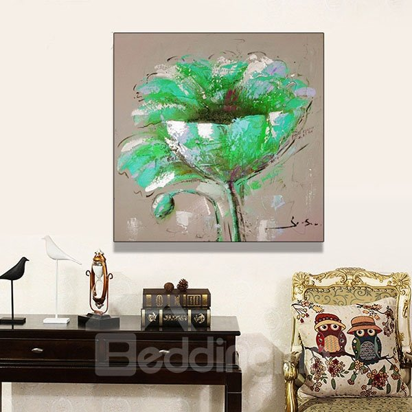Simple Green Flower Hand Painted Oil Painting for Home Decoration
