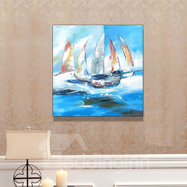 Hot Sale Blue Sailing Boat Hand Painted Oil Painting