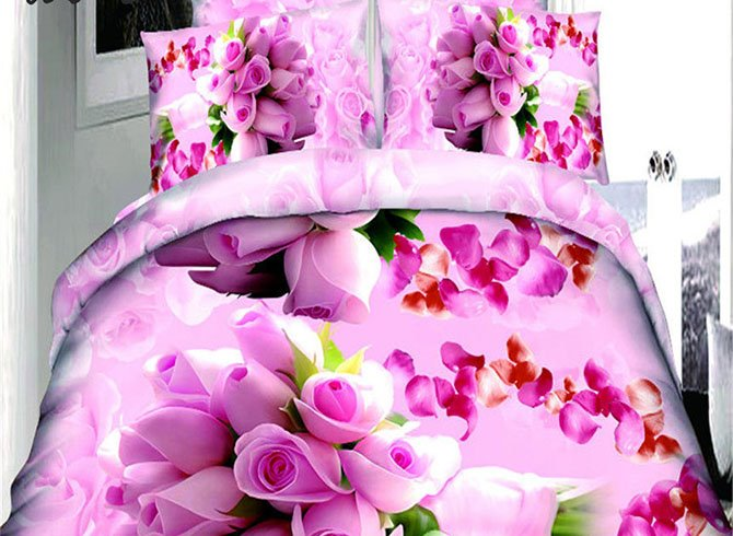 Lovely Pink Roses Print Polyester 4-Piece Duvet Cover Sets