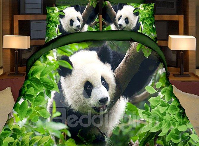 Lifelike Cute Panda Print Green 4-Piece Duvet Cover Sets