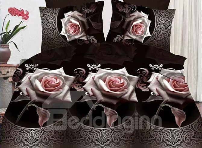 Gorgeous Elegant Roses Print Polyester 4-Piece Duvet Cover Sets