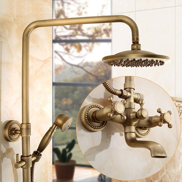 European Style Antique Brass Bathroom Set Shower Heads